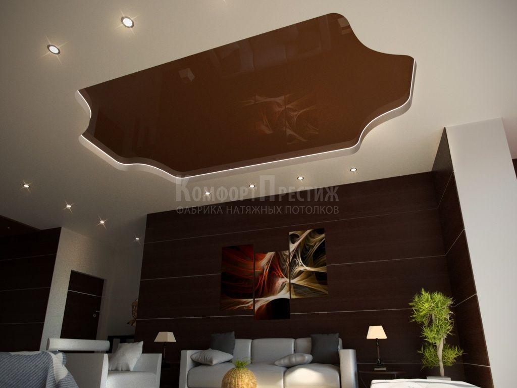 картинки коричневый натяжной потолок создании украшений